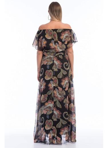 Angelino Butik Büyük Beden Şifon Elbise KL7881d Renkli